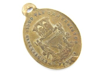 Antique Dutch Procession of Holy Blood Catholic Medal - Guardian Angel Religious Charm - Jesus Christ Medallion - K7