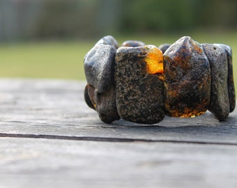 Huge Raw Baltic Amber Bracelet Statement Jewelry Massive Cuff OOAK Stretch Big Dark earthy Colors Natural Massive