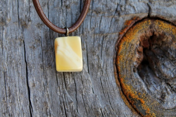 Amber Cube Necklace Charm Mens Pendant Milky Yellow White Unisex Jewlery Fall Fashion Organic Natural Gift for Him Man
