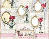 NEW! Antique French ATC Tags Instant Download no.201502 Artist Trading Cards Nouveau Roses