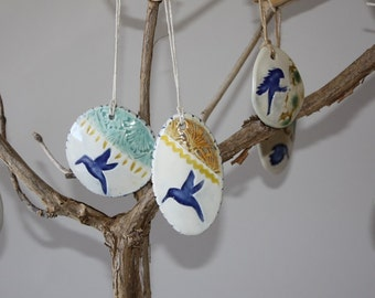 Egg Ornament, Easter Egg Ornament, Oval Bird Ornament, Easter Gift, Easter Basket Favor