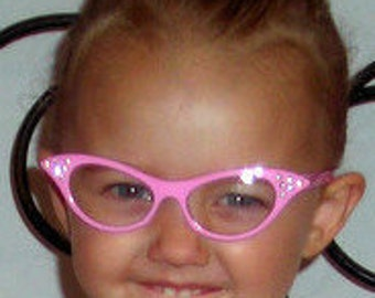 Adorable Toddler Size Cat Eye Glasses, Your choice of color Pink or White w/Hot pink stones!