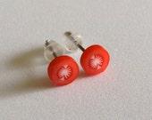 Tiny Tomato Slice Post Earrings - Fruit Slice Earrings - Vegetable Earrings - Red Earrings - Gift - Under 5 dollars - Summer - Trendy