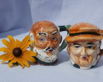 Vintage Toby Head Mug Shaped Salt and Pepper Shakers
