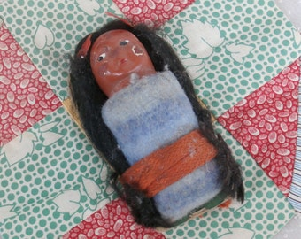 Skookum Papoose Baby Doll on Mailer Card Cradle Board Vintage Native American