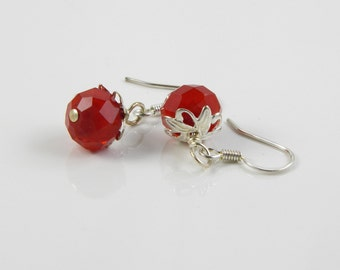Cherry Red Crystal Earrings with Surgical Steel Ear Wires