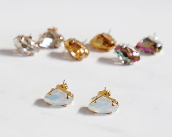 Geode Sparkling Swarovski Studs - Four color choices
