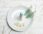 Wedding Ring holder, ring dish bowl Handmade ceramic ring cone bride gift Personalized Custom Initials White gold green leaves