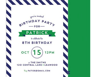 Preppy Diagonal Stripe Birthday Party Invitation | You Choose Stripe Color & Font Color | Set of 20 Double-Sided Invitations