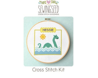 Nessie the Loch Ness Monster Cross Stitch Kit, DIY Kit, Embroidery Kit, Sea Monster