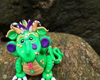 Polymer Clay Dragon 'Gras' - Mardi Gras Collection - Limited Edition Handmade Collectible