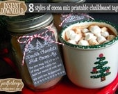 Printable Chalkboard Double Hot Chocolate Cocoa Mix Tags Instant Download DIY Christmas Holiday Labels