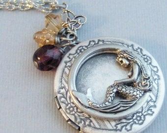 Indigo Sands,Mermaid Locket,Mermaid Locket,Silver Locket,Necklace,Antique Locket,Summer,Amethyst,Mermaid Necklace,Purple Necklace,Purple