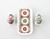 Matryoshka Shaker Set & Butter Dish * Ceramic Salt Pepper Shakers Plate * Russian