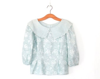 Embroidered Linen Blouse * Vintage 80s Blouse * Floral Embroidery * Large