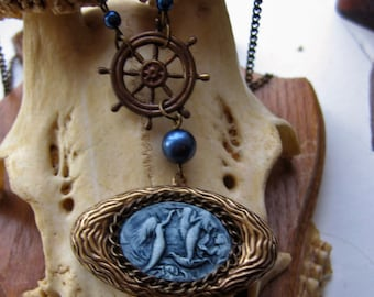 Mermaid Cameo Necklace with Ship's Wheel - nautical jewelry, siren necklace