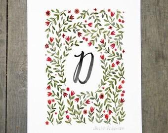 Monogram Letter D floral art print