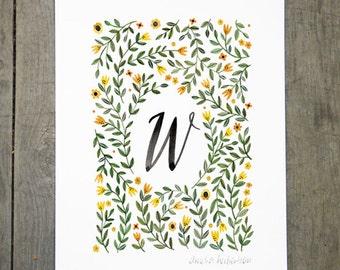 Monogram Letter W floral art print
