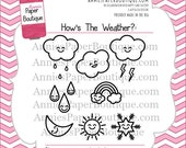 Planner Stamps by Annie's Paper Boutique - How's the Weather? - for Your Calendar, Filofax, Journal - Clear Stamps, Kawaii
