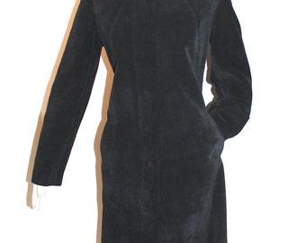 PIERRE CARDIN Vintage Suede Coat Mod Black Mock Neck Skinny Fit - AUTHENTIC -