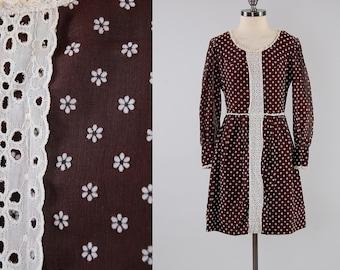 Vintage 60s brown tiny DAISY mini dress / Bohemian folk mini / Crochet lace details