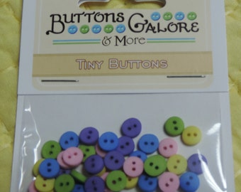 """Tiny Round 2 Hole Buttons, Packaged Assortment, """"Garden Colors"""" #1570 by Buttons Galore, Sewing, Crafting Buttons"""