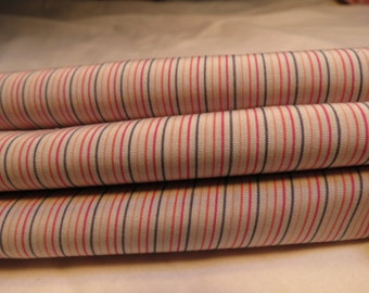 CLEARANCE Vintage Pin Stripe Fabric Red Orange Black 63x45