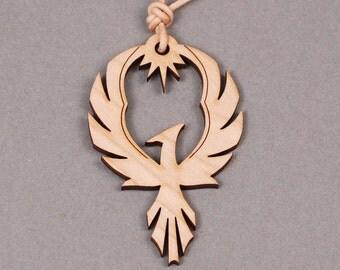 Phoenix Pendant - Phoenix Necklace - Firebird Necklace - Firebird Pendant - Bird Pendant - Bird Necklace - Wood Pendant - Wood Necklace