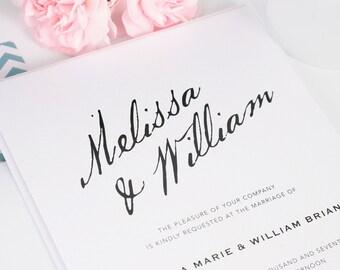 Modern Wedding Invitation, Teal, White, Calligraphy, Bold, Blue Wedding Invitation - Modern Calligraphy Design - Sample Set