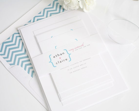 Modern Chevron Wedding Invitations - Addition of Love Design - Pink, Blue, Mod, City, Urban, Math - Wedding Invitaiton Sample