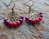 Wire wrapped hoop earrings, small beaded hoops, purple and pink, bohemian jewelry, indie style, lightweight, colorful earrings