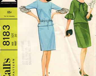 Vintage Pattern 1960s Blouse with Bell Sleeves and Slim Skirt - McCall's 8183 UNCUT