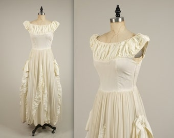SALE • 1940s stunning silk chiffon gown • vintage 40s dress • long wedding dress