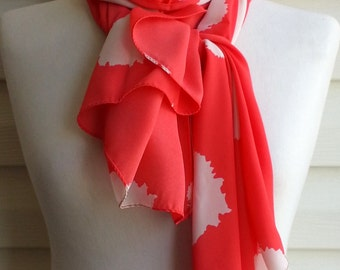 Red infinity scarf, Snood scarf, Mothers day Gift, Gift for Mom, Chiffon Scarf, Lightweight Spring Fashion