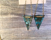 KATE. Blue patina triangle and skinny brass chain earrings. MT-37