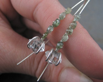 Herkimer Diamond Green Tourmaline Sterling Silver Wire Thread Earrings - Rough , Hammered , Raw Quartz