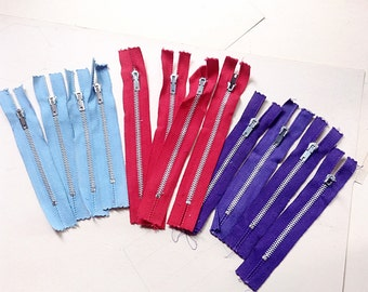 Twelve (12) Vintage Metal Zippers - Purple Blue and Red - Craft, Fabric Art, Sewing, Supplies