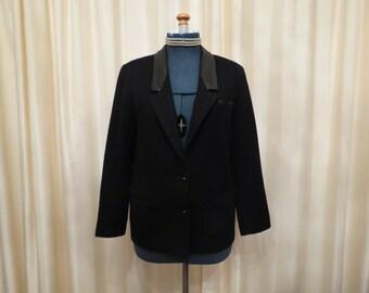 Vintage Aywon Wool Black Ladies Jacket Blazer with Faux Leather Details