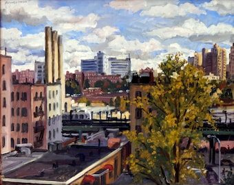 The View East, NYC. Original Painting, 16x20 Oil on Canvas, New York City Urban Impressionist Plein Air Artwork, Signed Original Fine Art