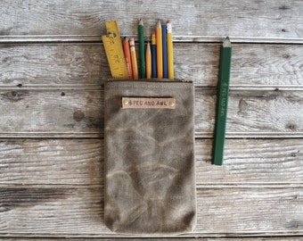 Waxed Canvas Scribbler Pouch in Truffle, Accessories Cases, Waxed Canvas Bag, Pencil Case, Cosmetic Case, Makeup Bag, Zipper Pouch, For Him
