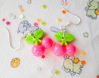 Cherry Earrings, Kawaii Earrings, Kawaii Cherry Earrings, Cute Earrings, Sweet Lolita, Kawaii Kei, Summer Earrings, Girls Gift