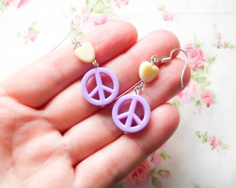 Peace Sign Earrings, Hippy Earrings, Cute Hippy Earrings, Cute Earrings, Pastel Kawaii Earrings, Kawaii Earrings, Pastel Earrings