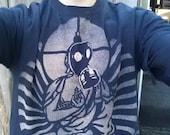 Gas Mask War Buddha Black Tee Shirt