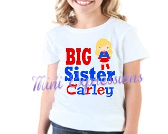 Big Sister Supergirl shirt or onesie Personalized just for you pregnancy announcement Tshirt