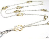Women's Cute ID Lanyard Necklace with Two Tone Celtic Knot, Silver and Gold, Breakaway Lanyard, Great Teacher Gift