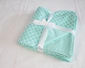 Reversible Aqua Lattice Flannel Baby Blanket - double thickness blanket