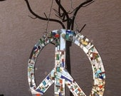 Peace Sign, Fabulous Peace Sign, Mirror Mosaic Peace Sign, Sun Catcher Peace Sign, Suncatcher Peace Sign, Give Peace A Chance Free Shipping