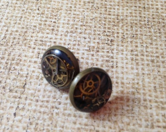 Clockwork Clutter Stud Steampunk Earrings
