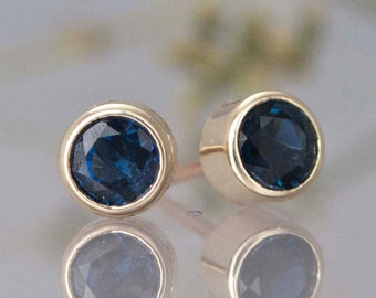 Blue Sapphire and 14k Yellow Gold Stud Earrings