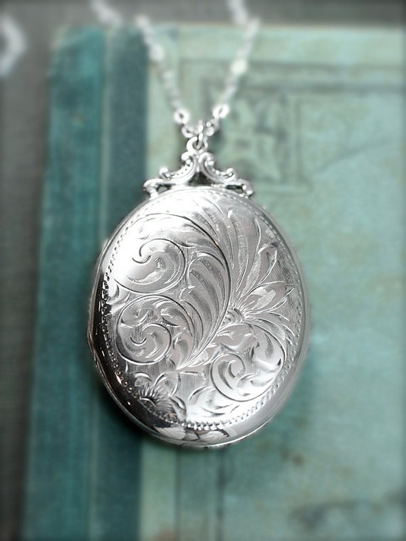 Sterling Silver Locket Necklace Large Oval Vintage By